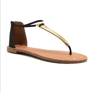 Cupid black and gold thong sandal 10 new